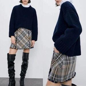 ZARA Plaid Fringe Trim Tweed Mini Skirt Y2K Print Size L